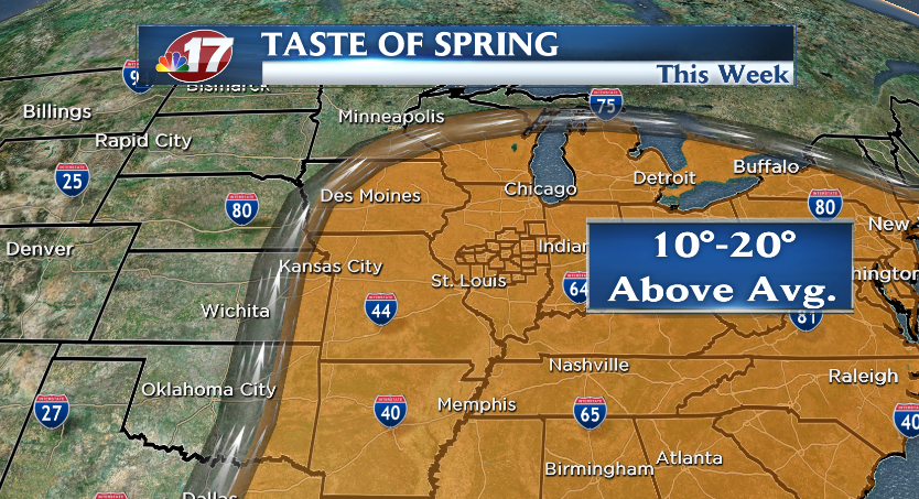 Temperatures are expected to climb 10-20 degrees above average Mar. 7-13.