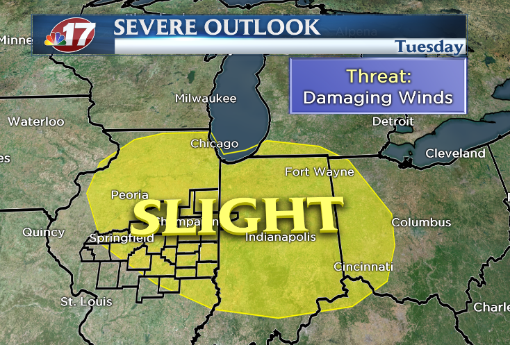 SPC outlook for March 15, 2016 shows a slight risk of severe storms in central Ill.