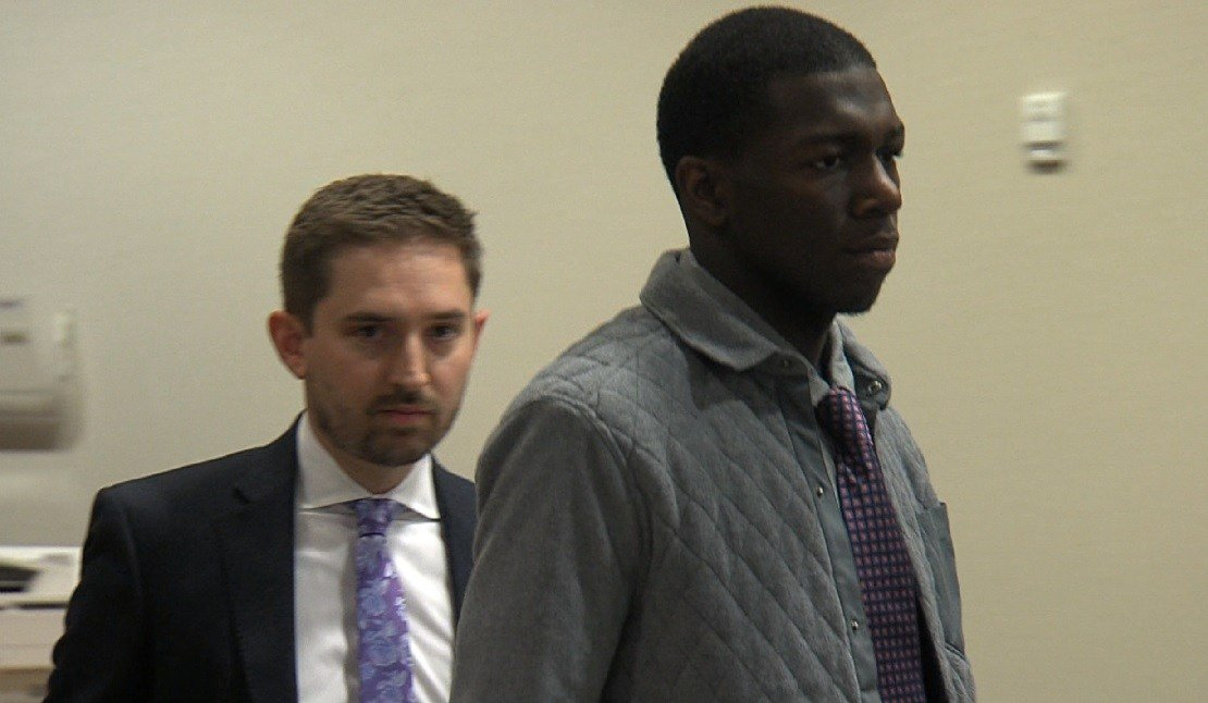 Kendrick Nunn (right) appears in court with attorney Anthony Bruno Friday, March 18.