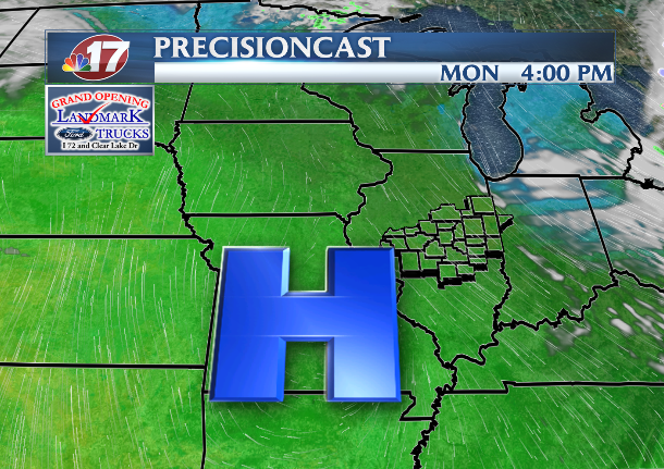 High pressure, sunshine set to arrive Monday to start the new week.