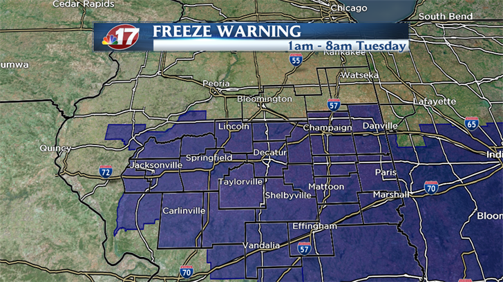 The NWS has issued a Freeze Warning for central Illinois early Tuesday as temperatures are expected to fall into the upper 20s.