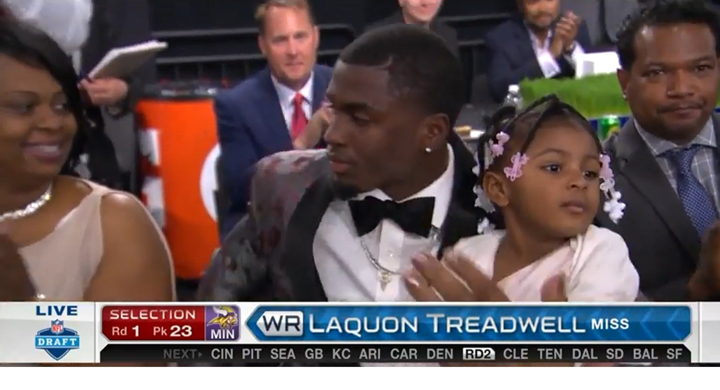 Crete-Monee High graduate Laquon Treadwell hears his name called on Thursday night in Chicago.