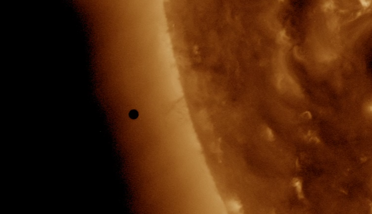 Mercury captured in photo as it passes in front of the sun. Credit: NASA/SDO