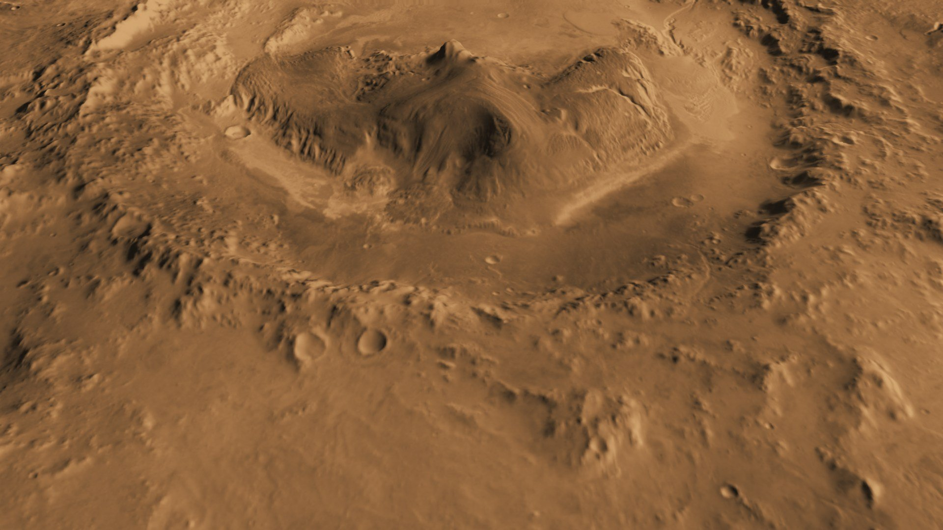 Mars' Gale Crater as seen from above. Credit: NASA
