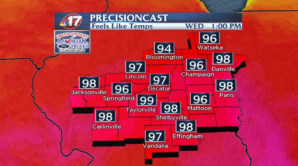 Forecasted heat index values for Wednesday afternoon.