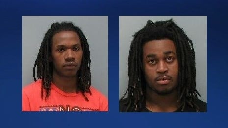 Police arrested Louis LaSalle (left) and Jimmie Burage (right)  in connection with Sunday's gun theft.