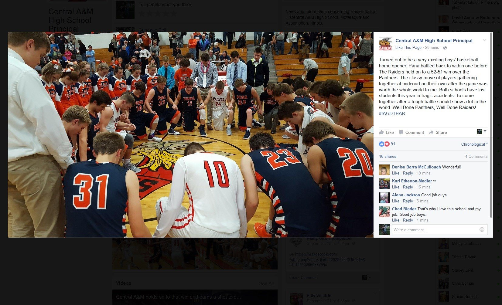Players from Pana and Central A&M gather for prayer after their nail-biting 52-51 game on Tuesday night. (Photo: CAM Principal Charlie Brown)