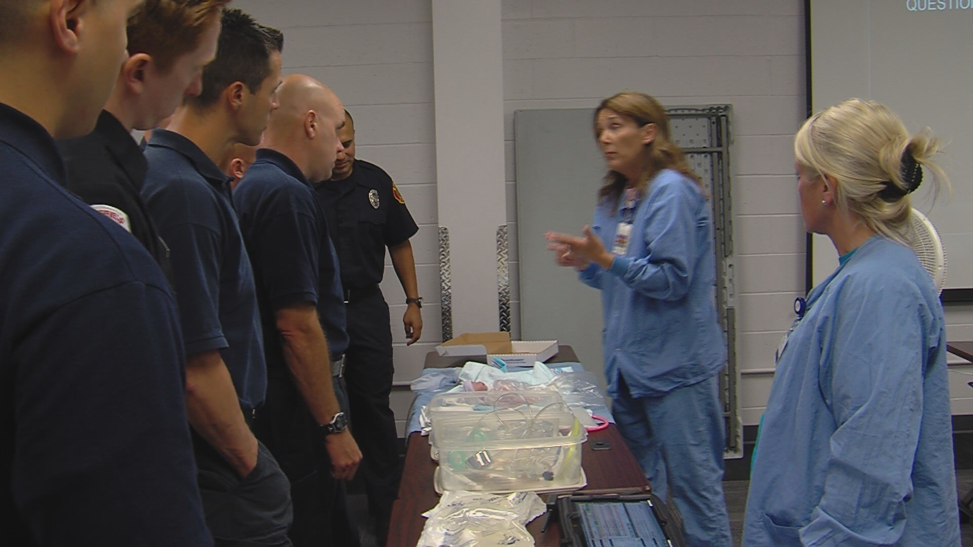Firefighters give lesson on emergency childbirth training ...