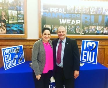 Illinois Comptroller Susana Mendoza (left) and EIU President David Glassman (right). Photo provided by the Comptroller's office.