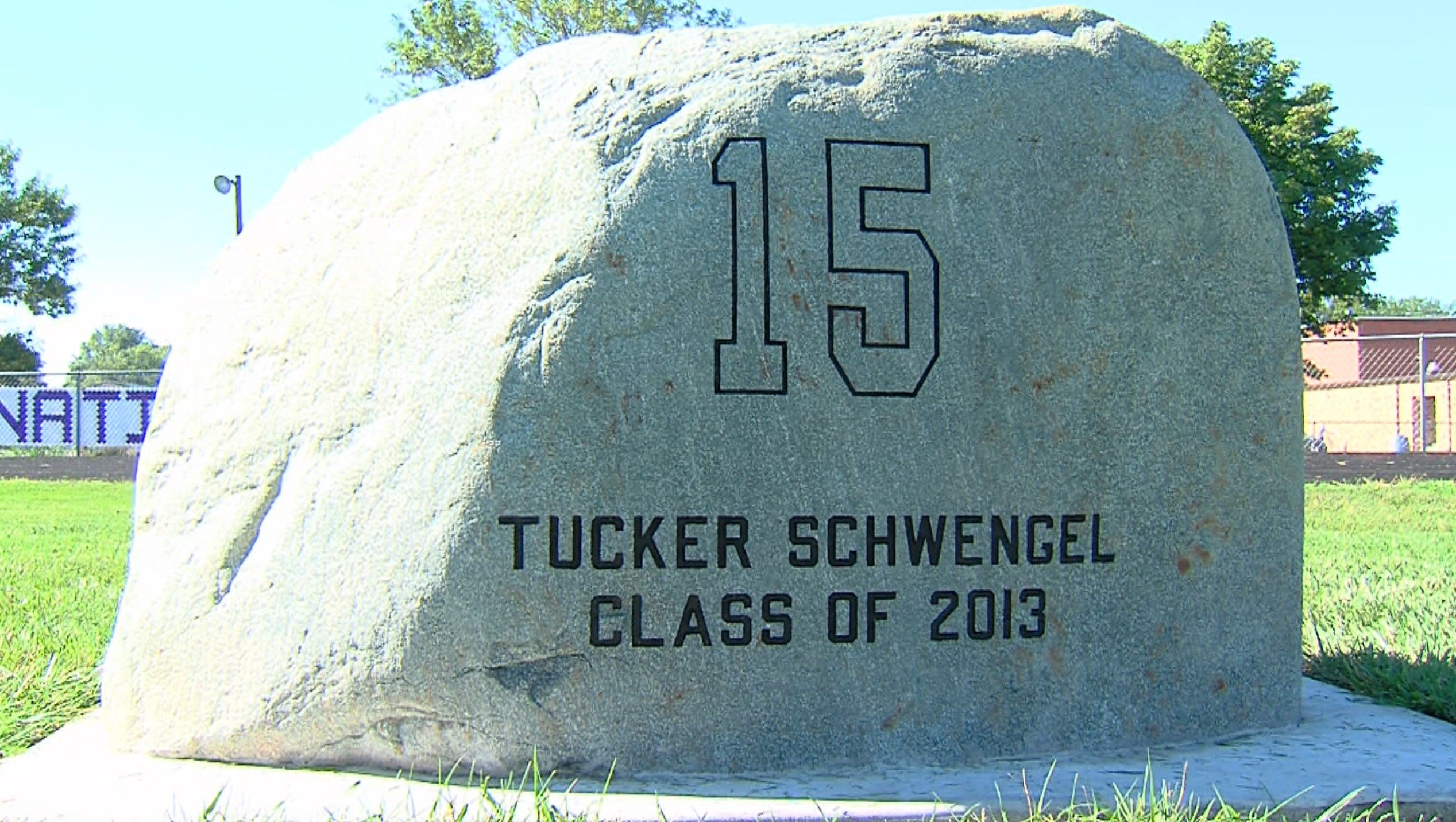 """""""Tucker's Rock"""" greets fans and players as they enter the field at Shelbyville High School."""