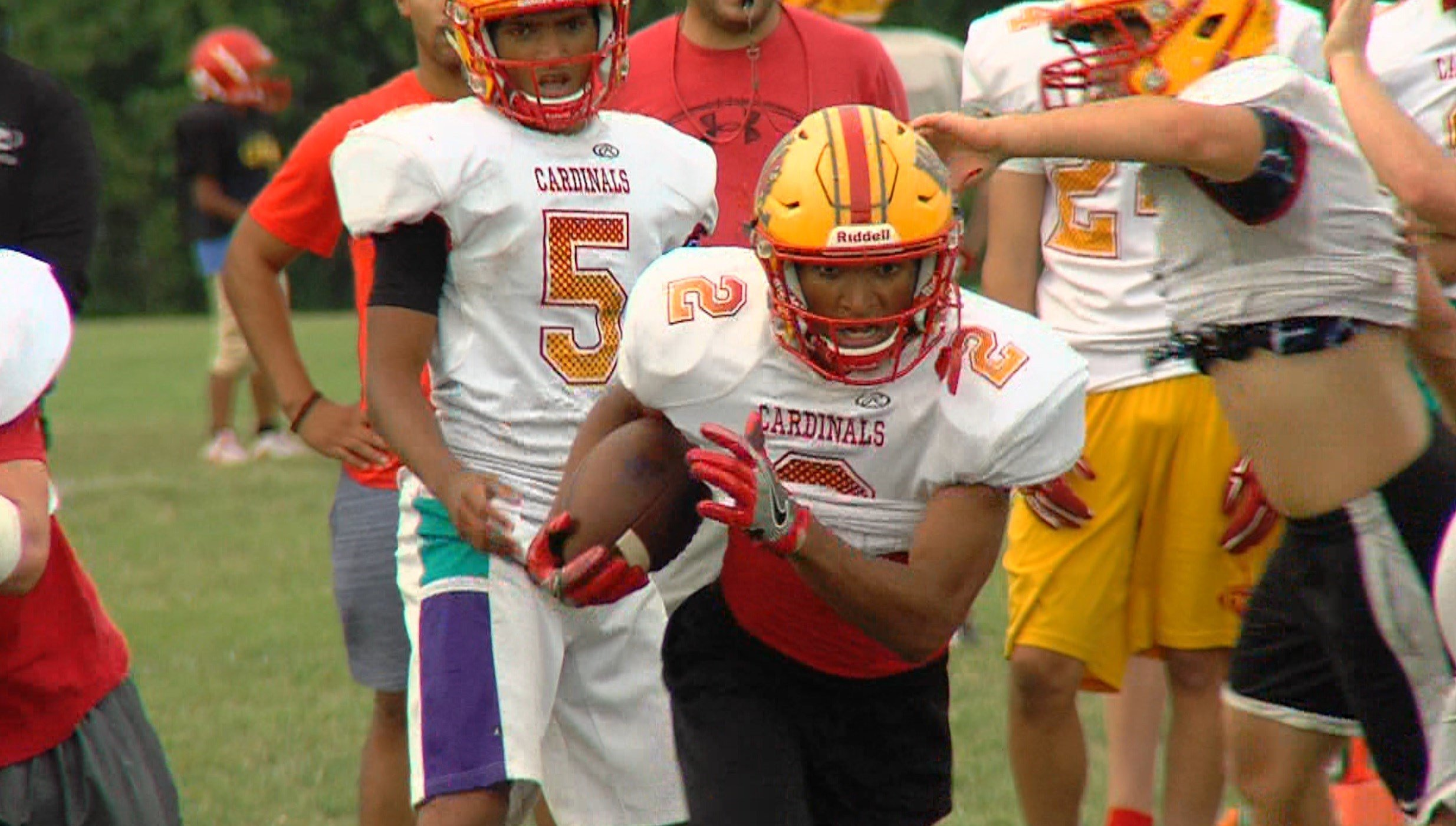 Twins Dionte (5) and Diondre (2) Lewis combined for an eye-popping 3,387 rushing yards last season for Warrensburg-Latham.