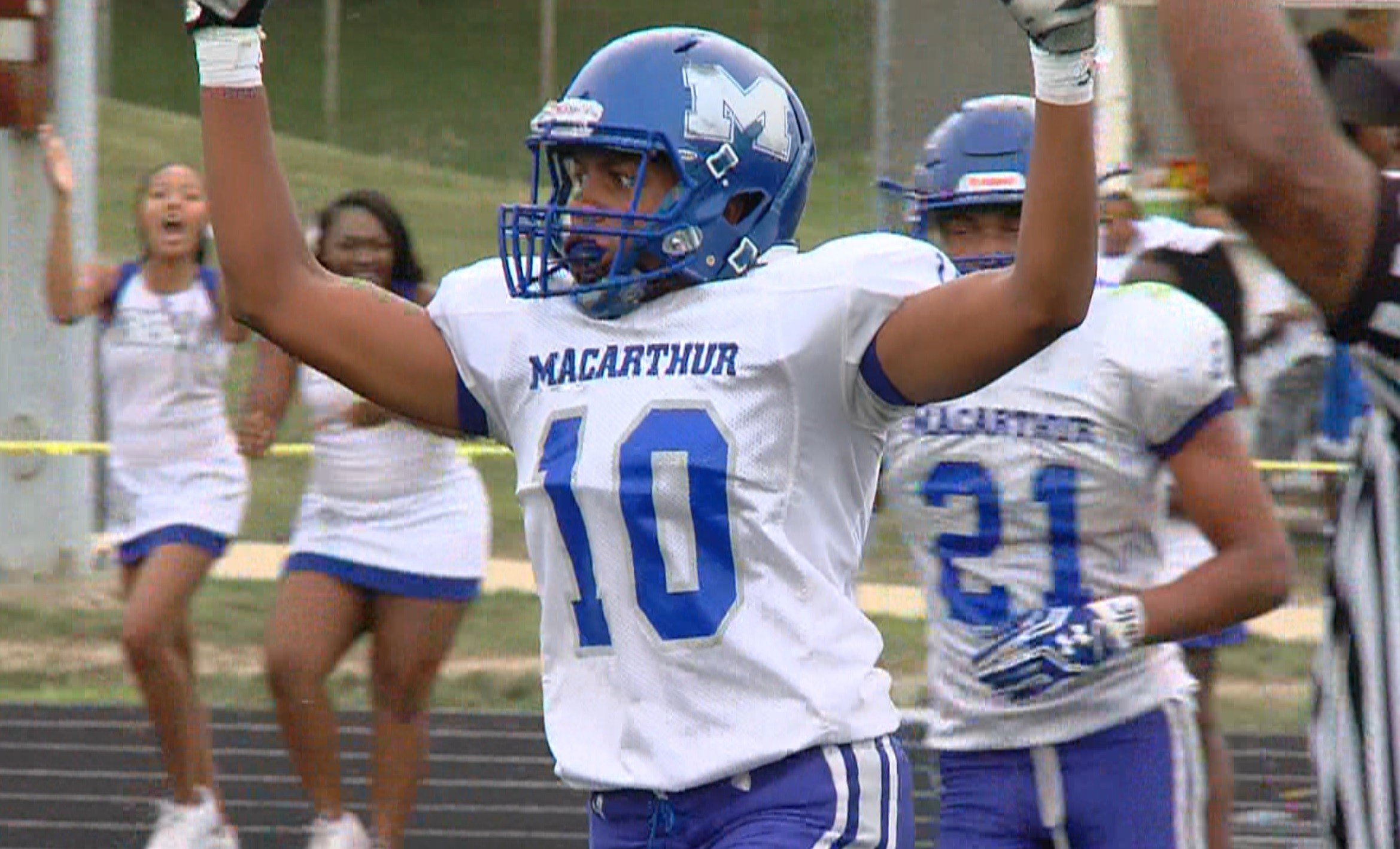 MacArthur senior receiver Ray Neal, Jr. scored three touchdowns on Saturday against Eisenhower, but it's work off the field that makes him stand out.