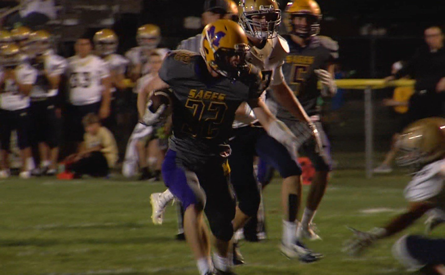 Monticello running back Lucas Lieb bursts through the Central Catholic defense on Friday night in the WAND Game of the Week.