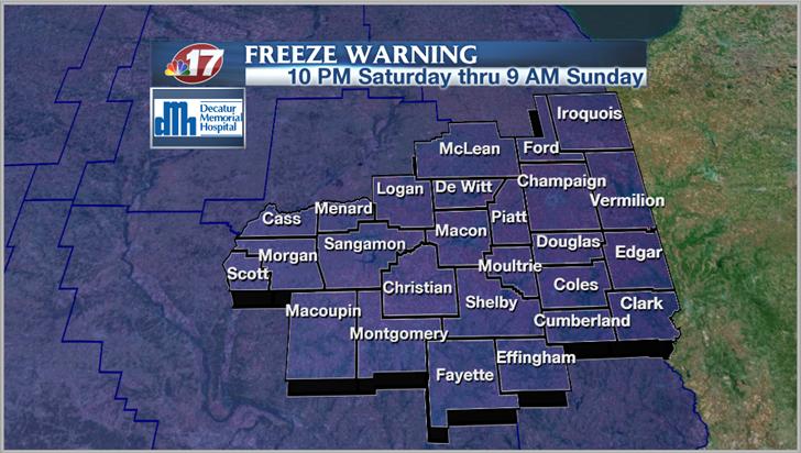 Freeze Warning Saturday night | Weather | wandtv com