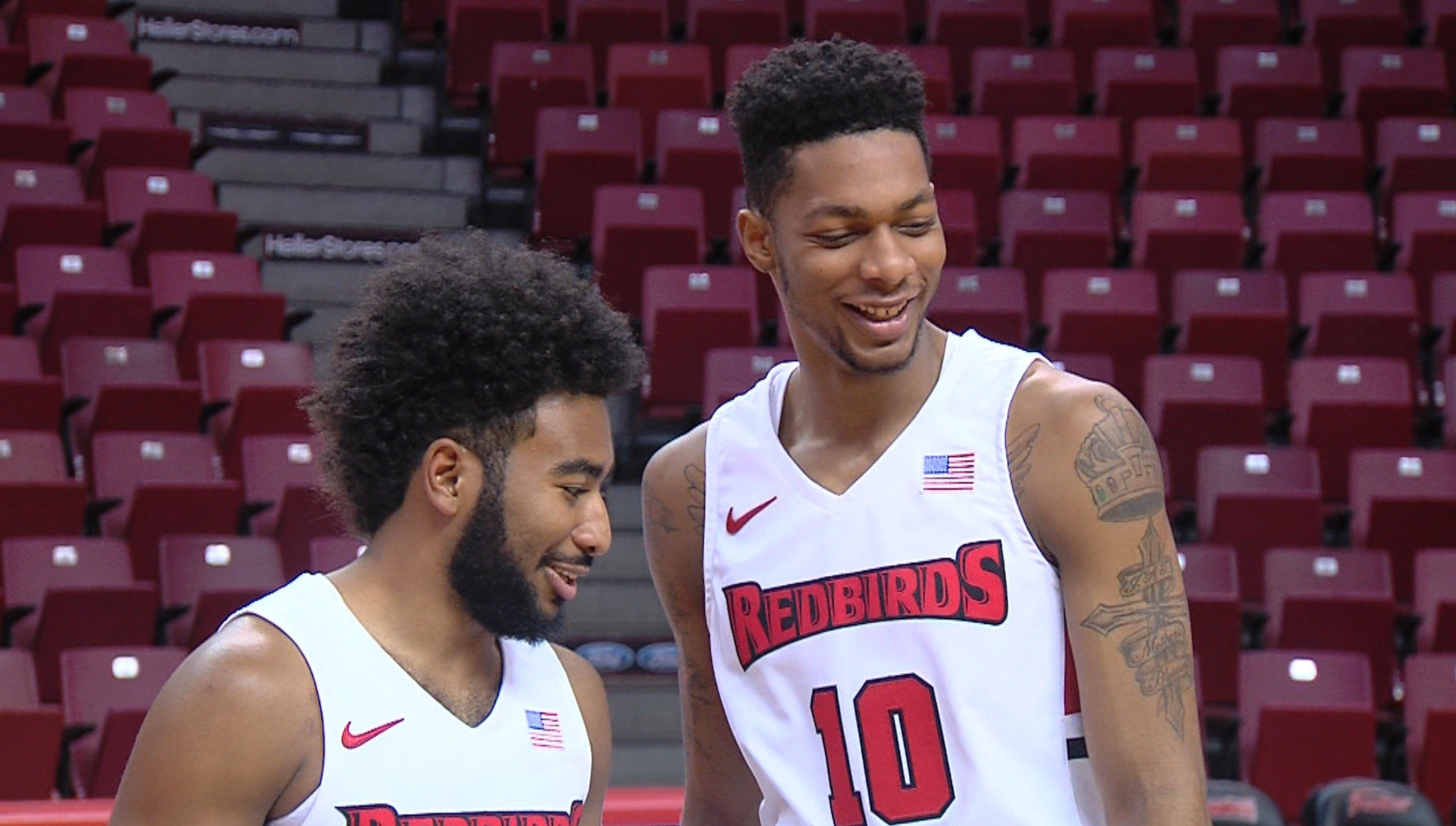Keyshawn Evans (left) and Phil Fayne are the only returning Illinois State players who started a game for the Rebirds last season. Evans started four, while Fayne started 34 of 35 games.