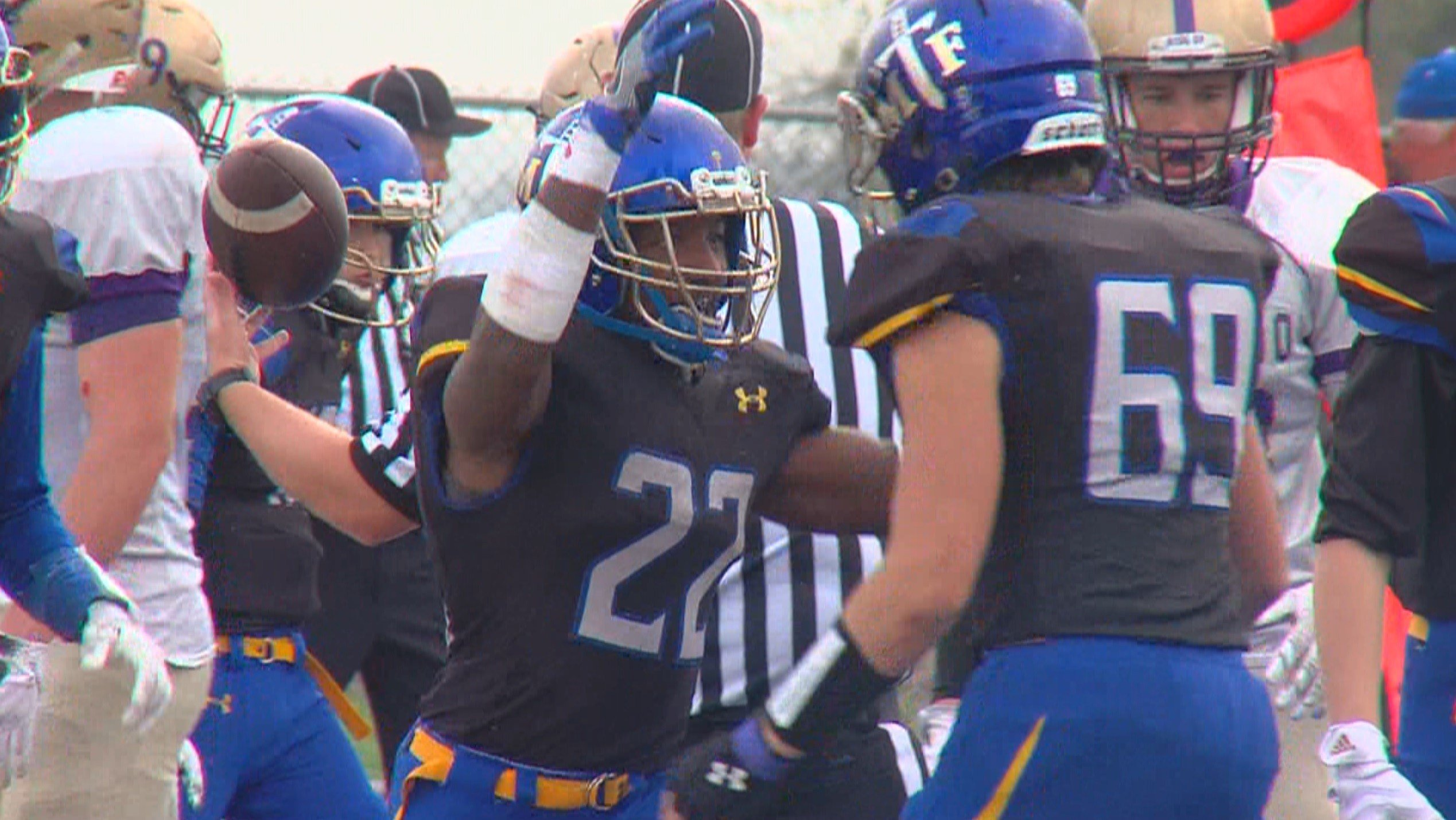 Maroa-Forsyth running back Deondre Gregory scored four touchdowns and the No. 4 seed Trojans rolled No. 5 seed Eldorado 48-6 in the second round of the 2A playoffs Saturday in Maroa.