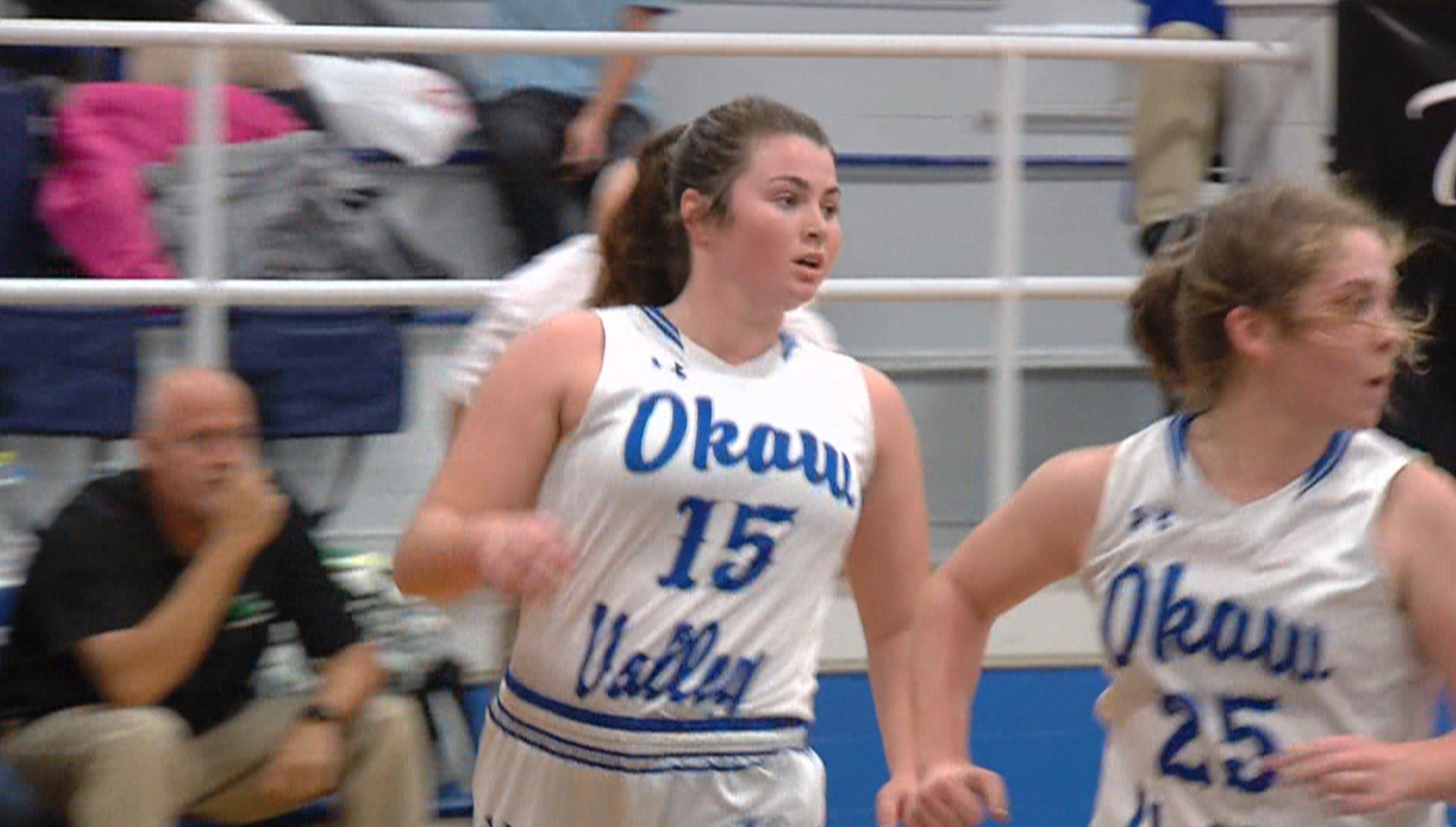 Okaw Valley senior Natalie Jeffers and the Timberwolves rolled Meridian 67-50 on Tuesday night in Bethany.