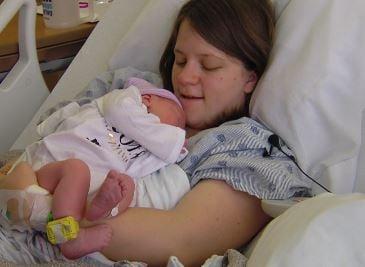 Pictured: Priscilla Janes with newborn son Milo Janes