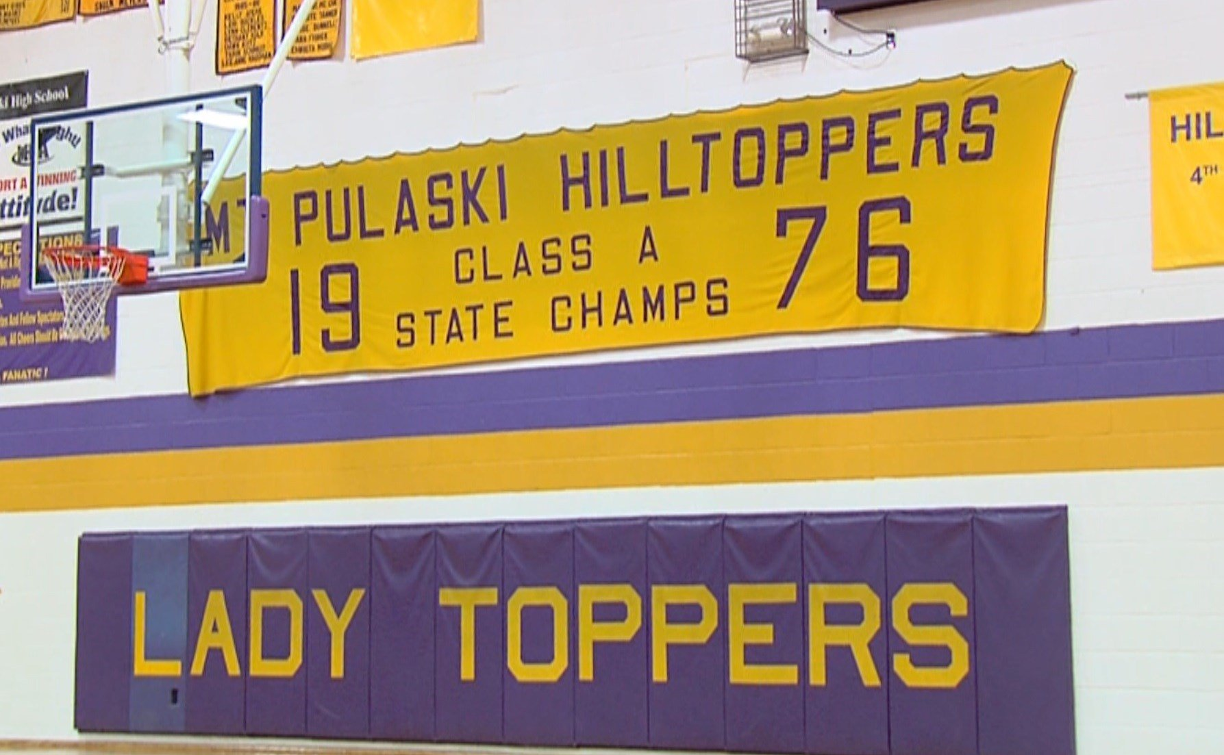 Mt. Pulaski's 1976 Class A state championship banner hangs in the Toppers' gym.