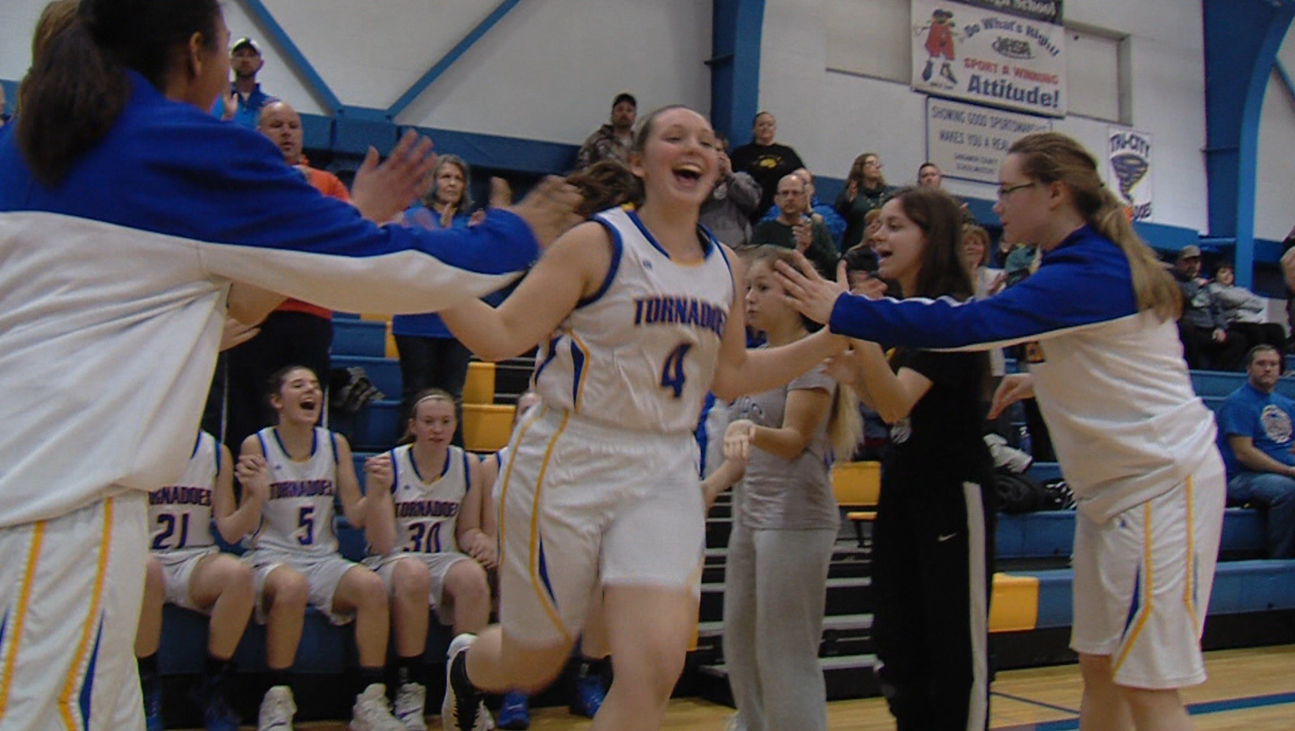 Tri-City/Sangamon Valley senior Aubrey Hunt is introduced before Thursday night's game against Athens. The multi-sport star signed to play softball at Illinois Central College at halftime of the JV game.
