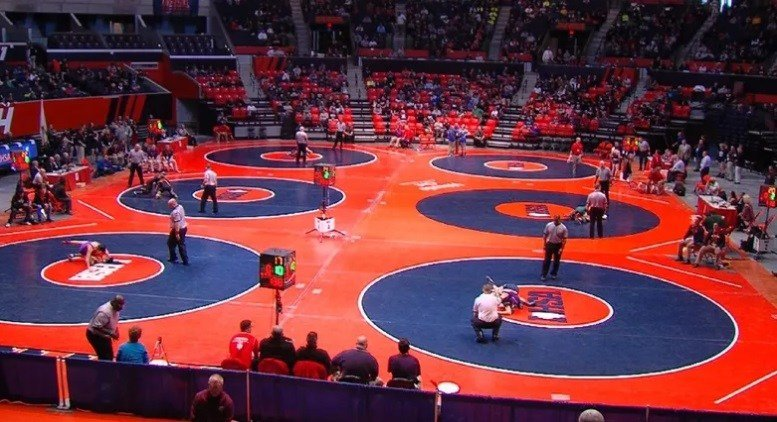 Champaign's State Farm Center is once again playing host to the state wrestling meet.