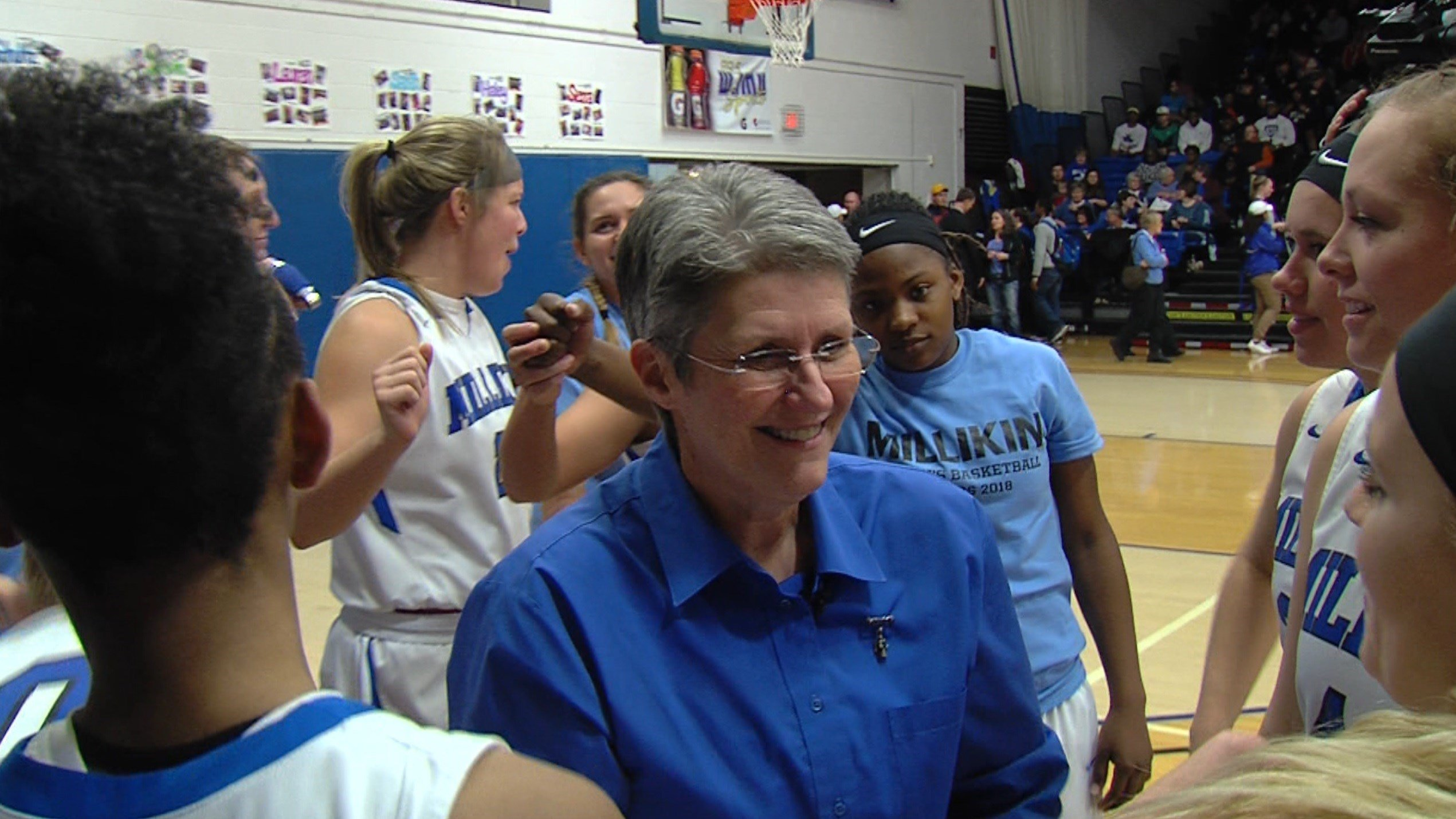 Lori Kerans notched her 556th career win by racing past North Park 85-66 on Tuesday night, her final leading the Big Blue program after 32 years at the helm.