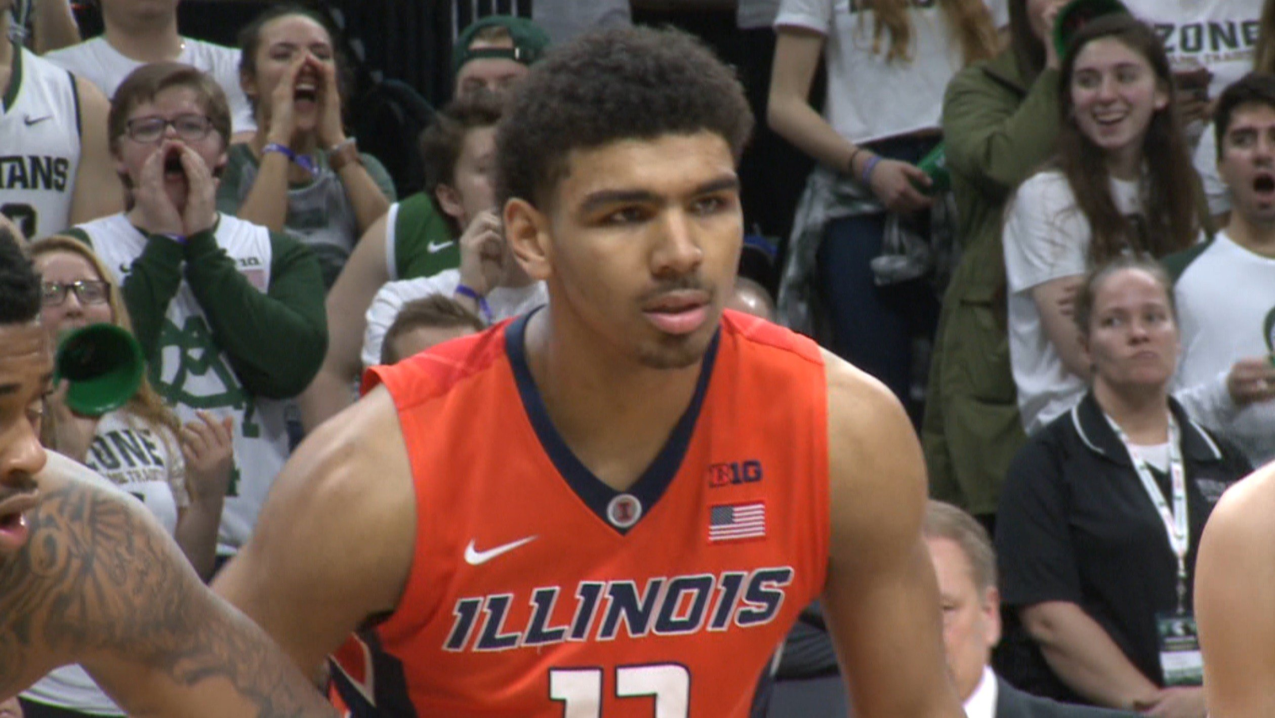 Illinois freshman Mark Smith prepares for tipoff at the Breslin Center in East Lansing, Mich., where he could have been wearing a green and white jersey had he chosen to play for Michigan State.