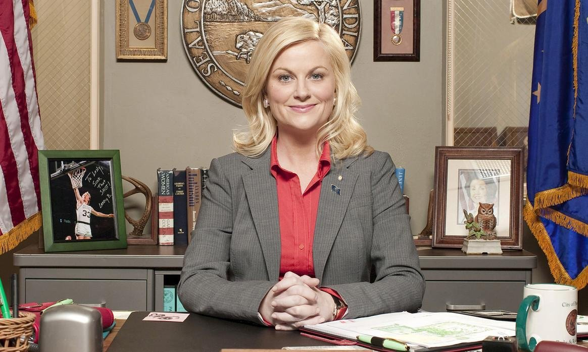 Pictured: Parks and Recreation character Leslie Knope