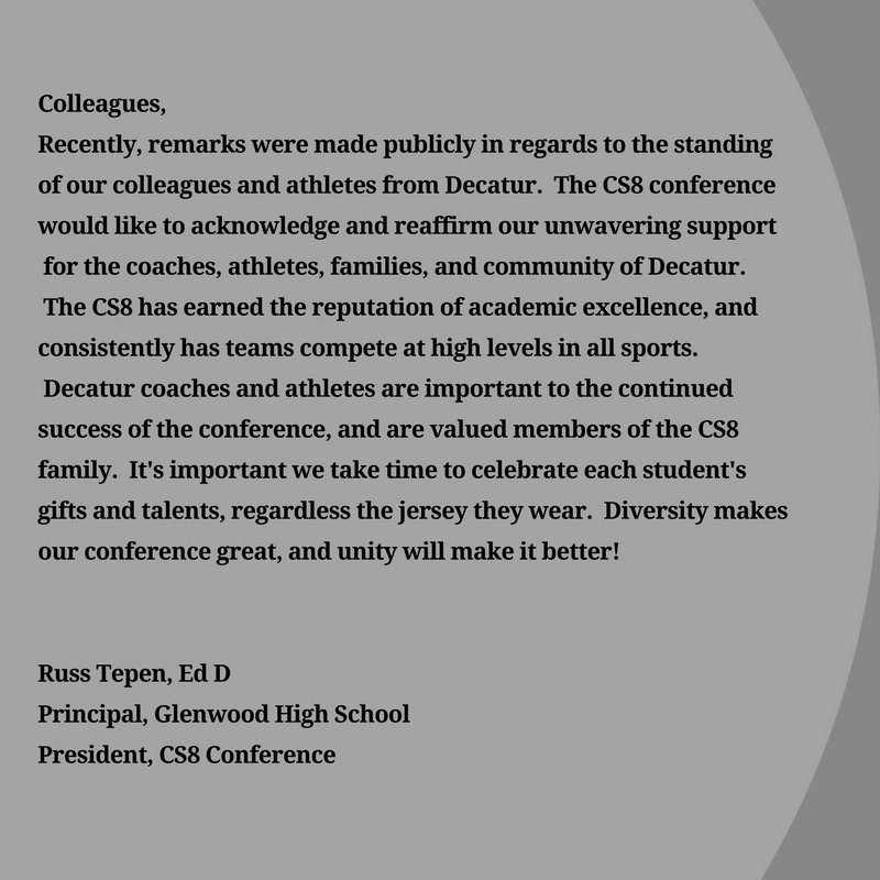 Glenwood principal Russ Tepen's statement to the rest of the Central State Eight.