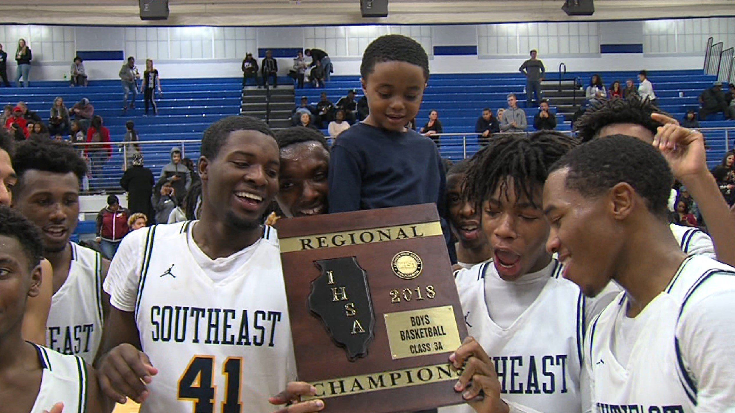 Southeast celebrates its fifth regional championship since coach Lawrence Thomas took over in 2008-09.