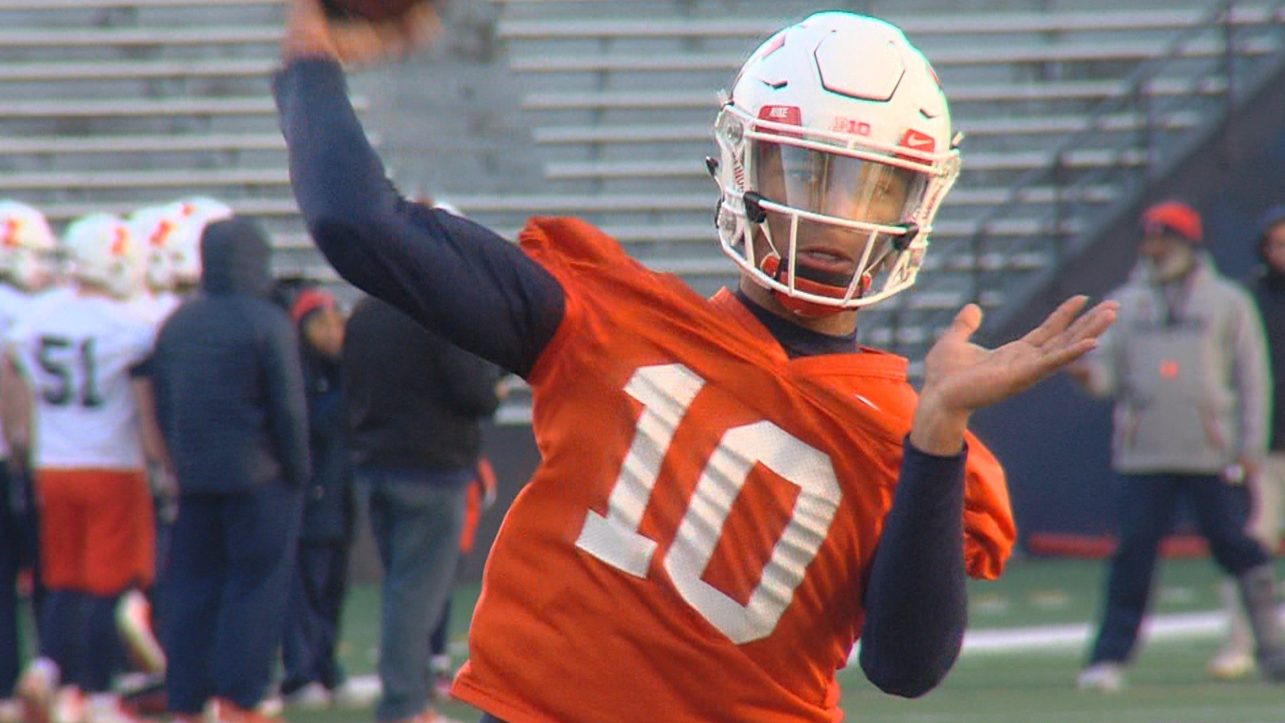 Rising sophomore Cam Thomas is the lone scholarship quarterback on the Illinois roster this spring, which means he's getting lots of 1-on-1 time with new offensive coordinator and quarterback molder Rod Smith.