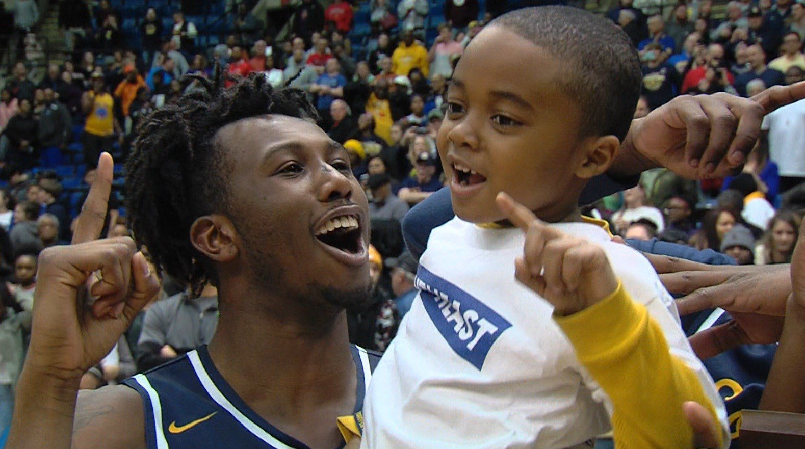 Southeast junior Anthony Fairlee celebrates the Spartans' super-sectional win over Marion.