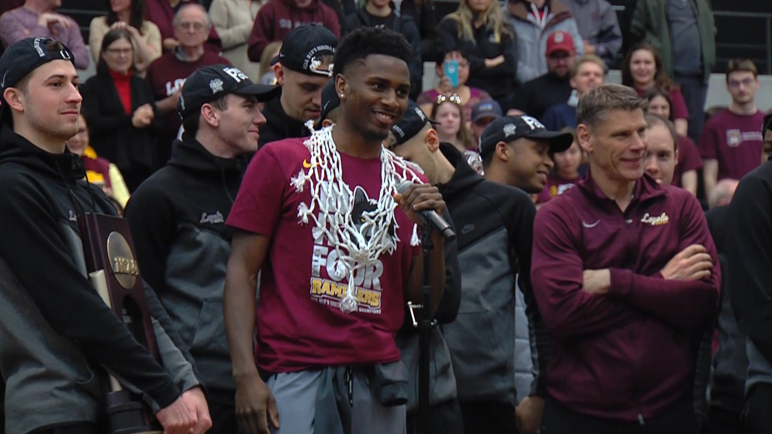 Loyola senior Donte Ingram fires up the Rambler student section on Sunday at the team's pep rally following the Elite 8.