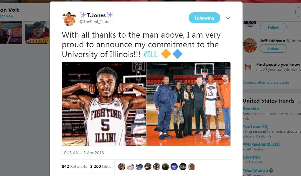 Tevian Jones' tweet on Tuesday announcing his commitment to Illinois. He is the fifth member of the 2018 recruiting class.