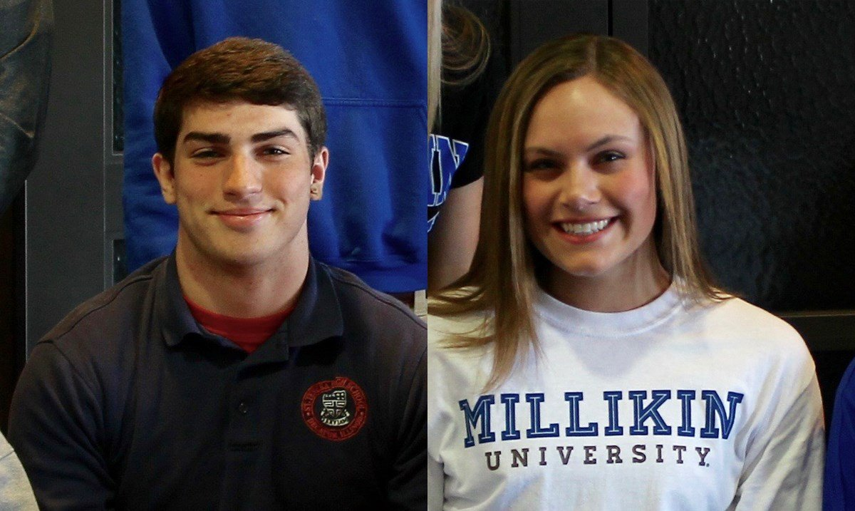 St. Teresa's John Bryles (Quincy football) and Maddie Snow (Millikin volleyball) signed with their respective colleges on Wednesday in Decatur. Photo courtesy St. Teresa.