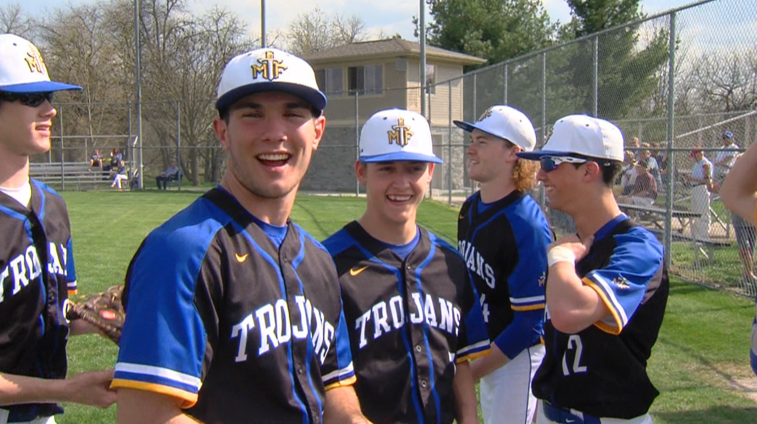 Tanner Falk (second from left), Kam Boline and Will Horve are three seniors whose spirits have lifted the Maroa-Forsyth baseball program to back-to-back regional titles.