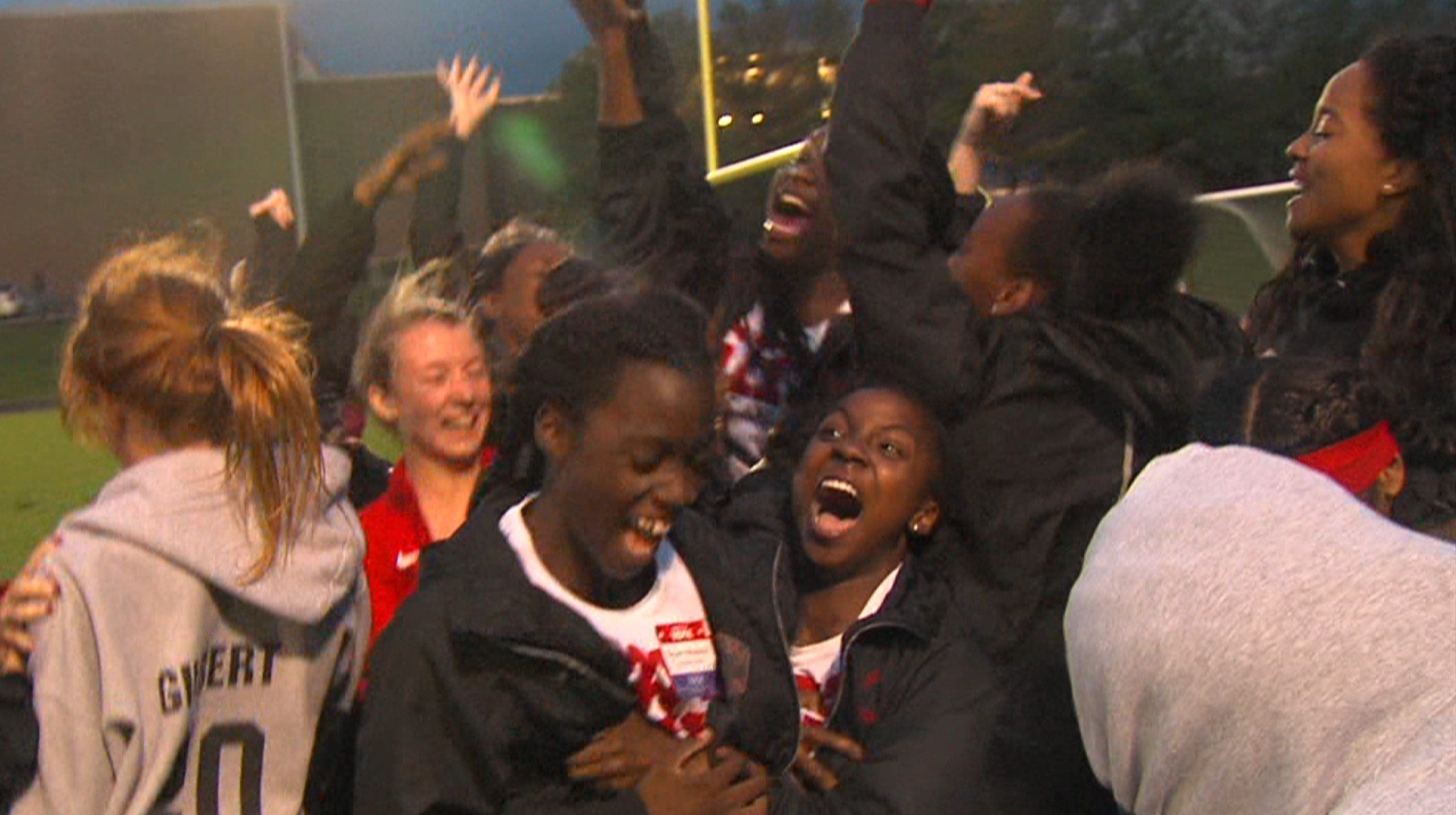 Springfield High's girls track team celebrates a fourth straight CS8 championship on Thursday in Decatur.