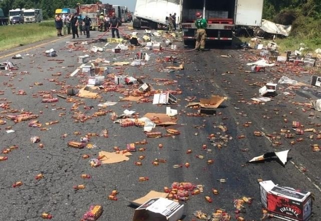 Fireball Whiskey Covers I-40 in Central Arkansas After Crash