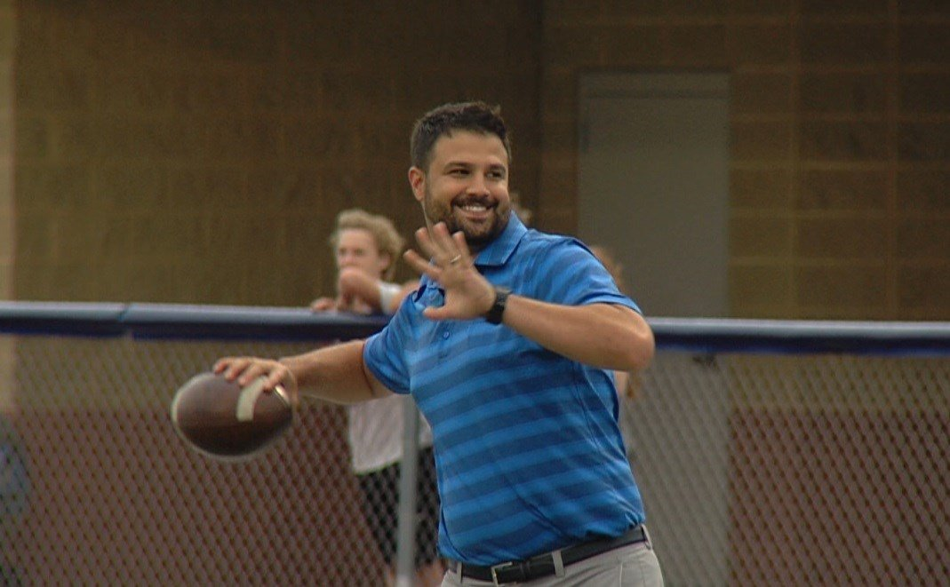 Former Eastern Illinois and Millikin quarterback Luke Hockaday (Class of 2007) showed off his arm in the Trojan Alumni Game on Tuesday night at Walter Boyd Field.