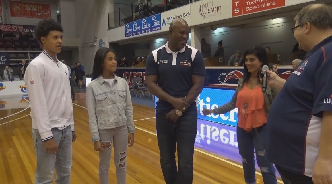 The Geelong Supercats honor the Walker family (RJ, Sydney, Rodney and Karen left to right) during a game this June. Rodney played for the Supercats from 1997-2000.