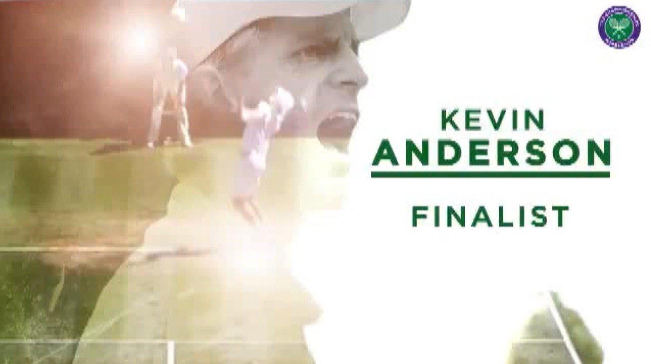 Kevin Anderson will play for the Wimbledon title at 8 a.m. on Sunday (graphic courtesy: Wimbledon)