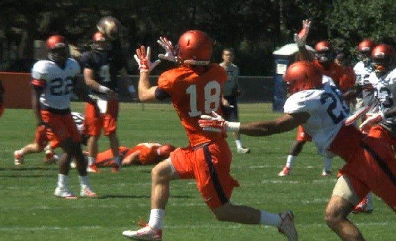Mikey Dudek makes a catch at Camp Rantoul