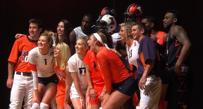 Illinois athletes unveiled a new look when Nike re-branded with Illinois athletics in 2014.