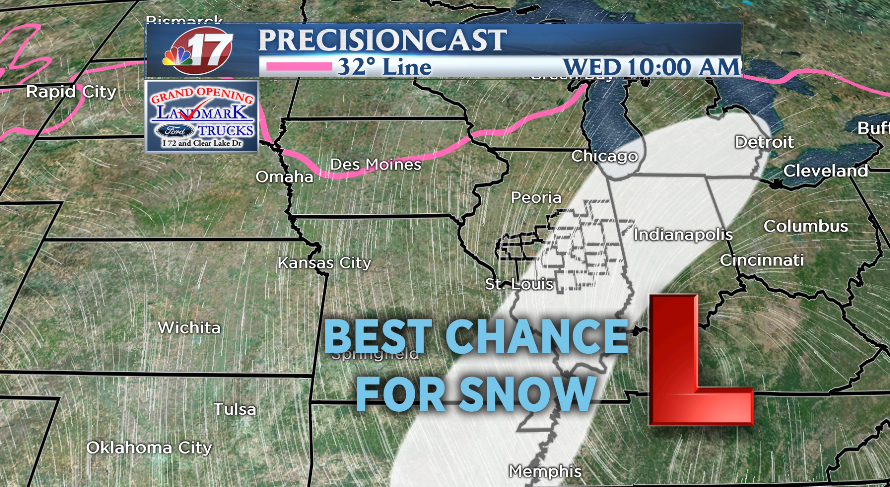 Best chance for snow Wednesday