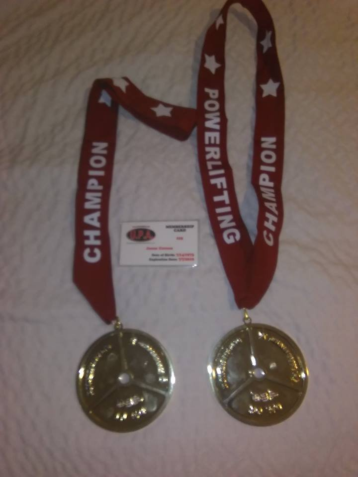 Decatur power lifter Jason Carson's two bench press gold medals from the League of Champions exposition in Tinley Park this past weekend.