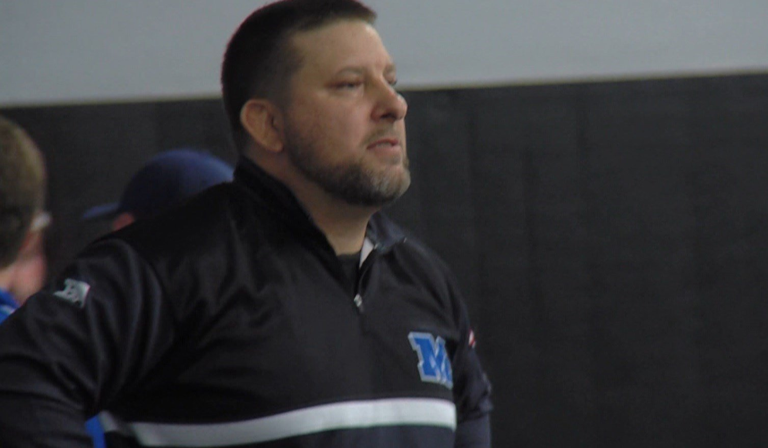 Millikin coach Ryan Birt watches on during the Big Blue's season-opening win over Hannibal-LaGrange on Thursday in Decatur.